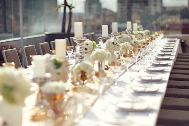 A Sparkling Gold Rehearsal Dinner