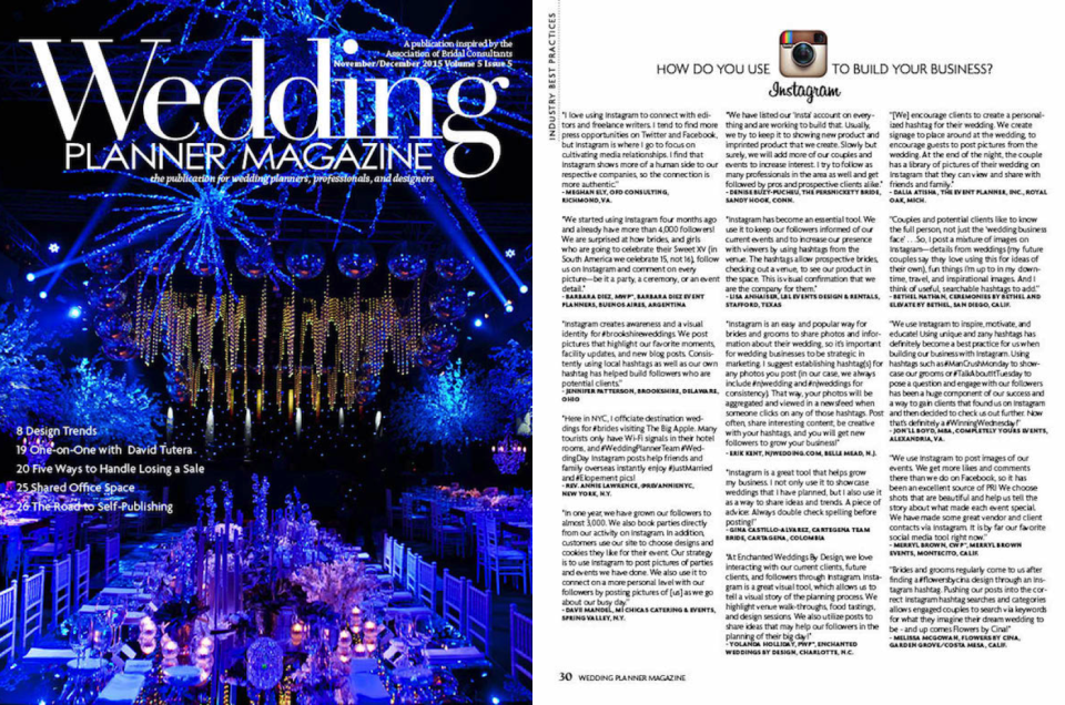 Flowers by Cina Featured in Wedding Planner Magazine