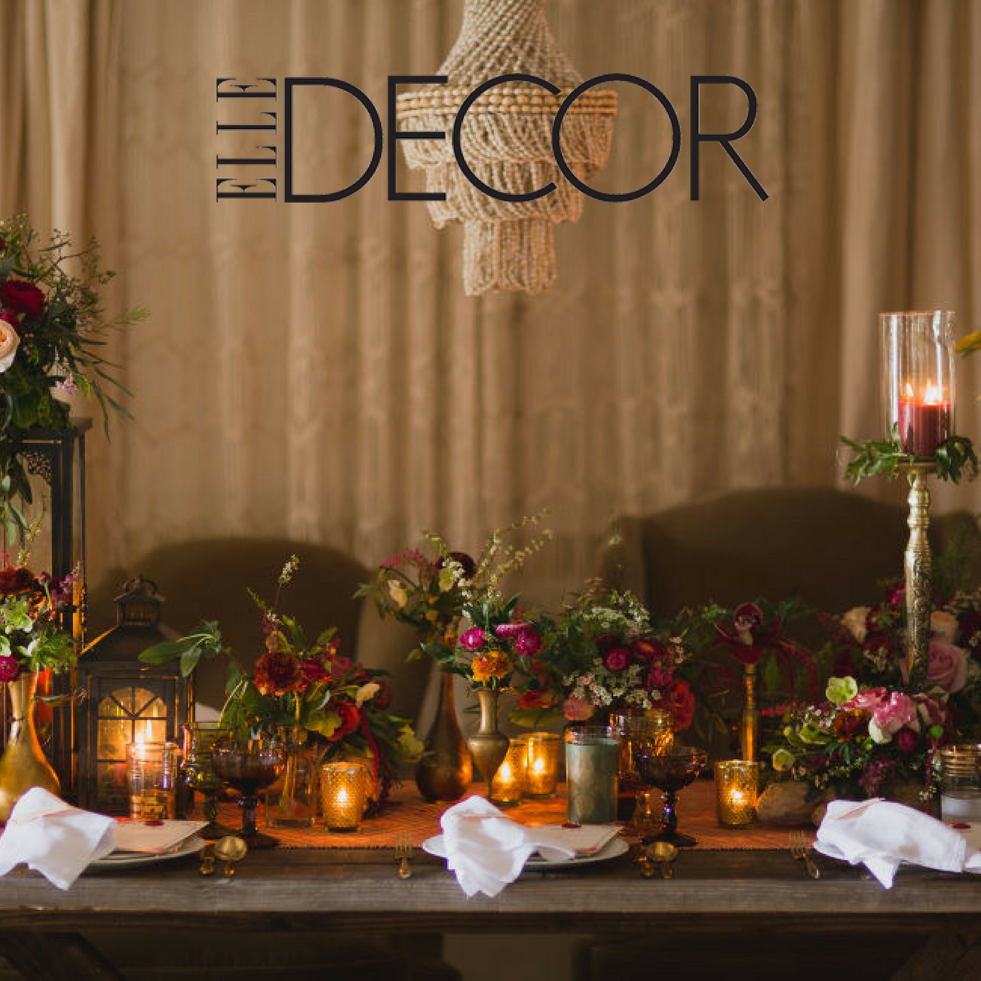 Romantic Boho Tablescape Featured on Elle Decor , Flowers by