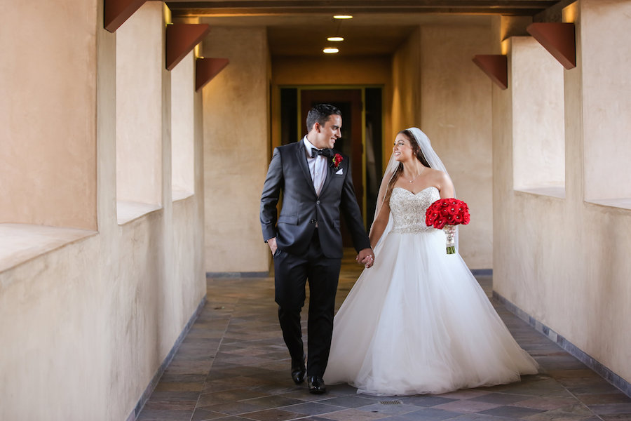 Red Rose Filled Valentine's Day Wedding Featured on Strictly Weddings, Red Bouquet, Beautiful Couple