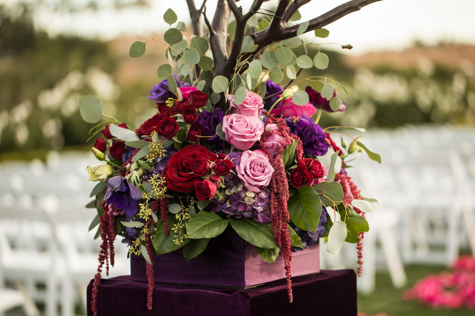 Jewel Toned Pelican Hill Resort Wedding, fuschia flowers, roses