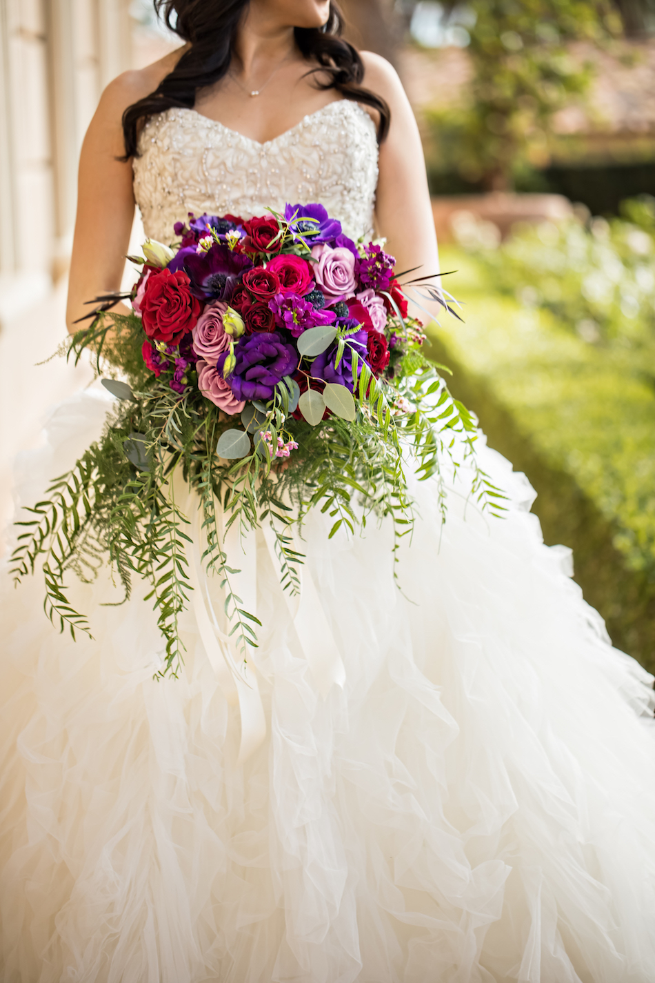 Jewel Toned Pelican Hill Resort Wedding, bridal bouquet, purple, red, fuschia