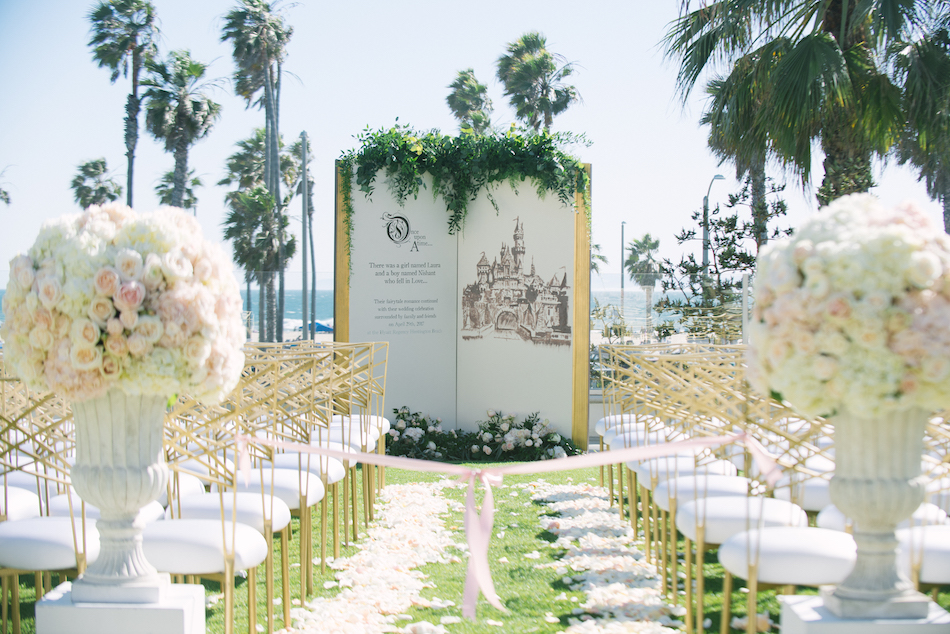 gold and white ceremony Huntington Beach Wedding