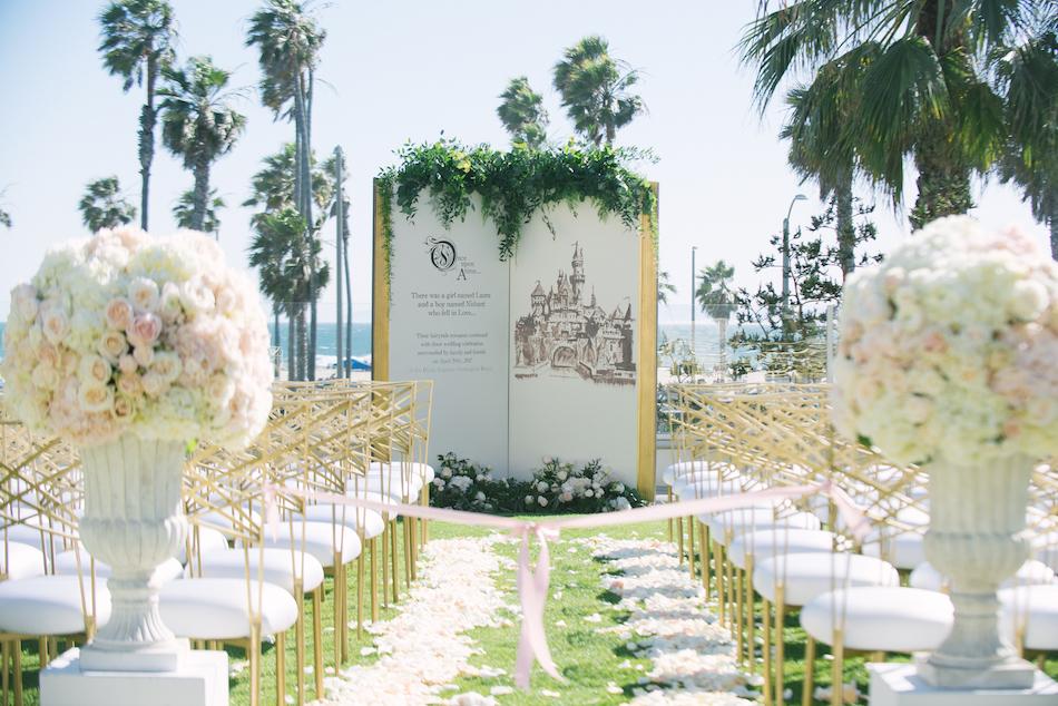 gold and white ceremony Huntington Beach Wedding