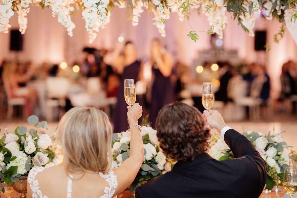 toast, bride and groom, wedding flowers, flowers, elegant white, white wedding, wedding, wedding reception
