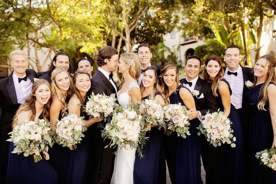 wedding party, elegant white, white wedding, wedding florist, flowers by cina