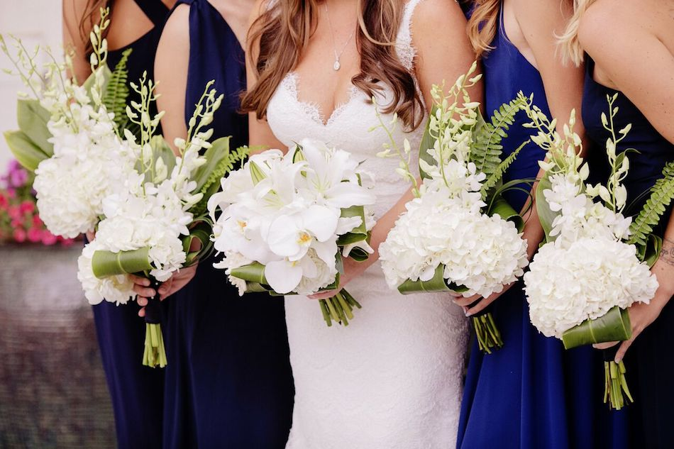 bouquets, bridal party, navy, navy wedding, navy and white, wedding flowers, orange county, beach wedding, flowers by cina