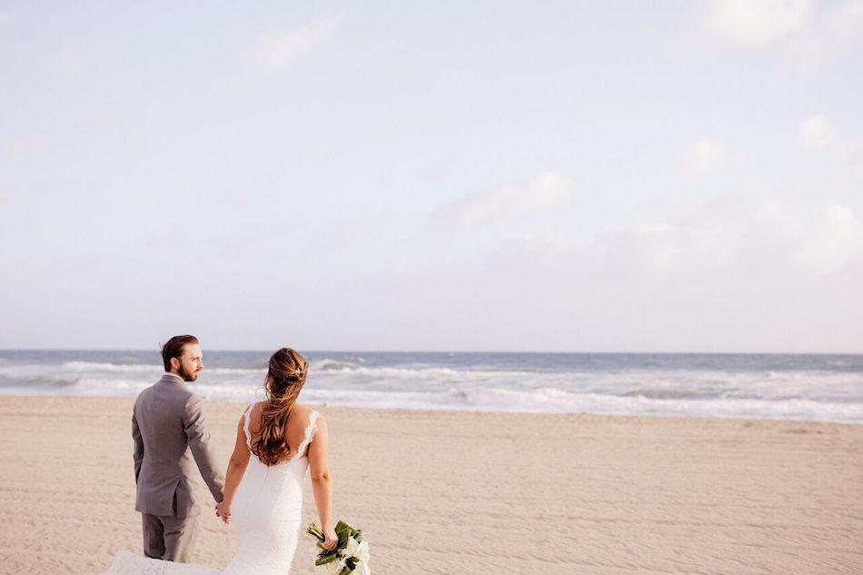 beach wedding, bride and groom, navy, navy and white, flowers, beach, wedding flowers