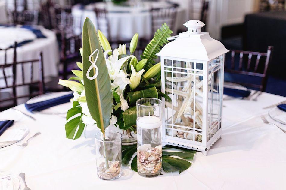 centerpiece, wedding flowers, table design, wedding, wedding design, navy, tropical, wedding flowers