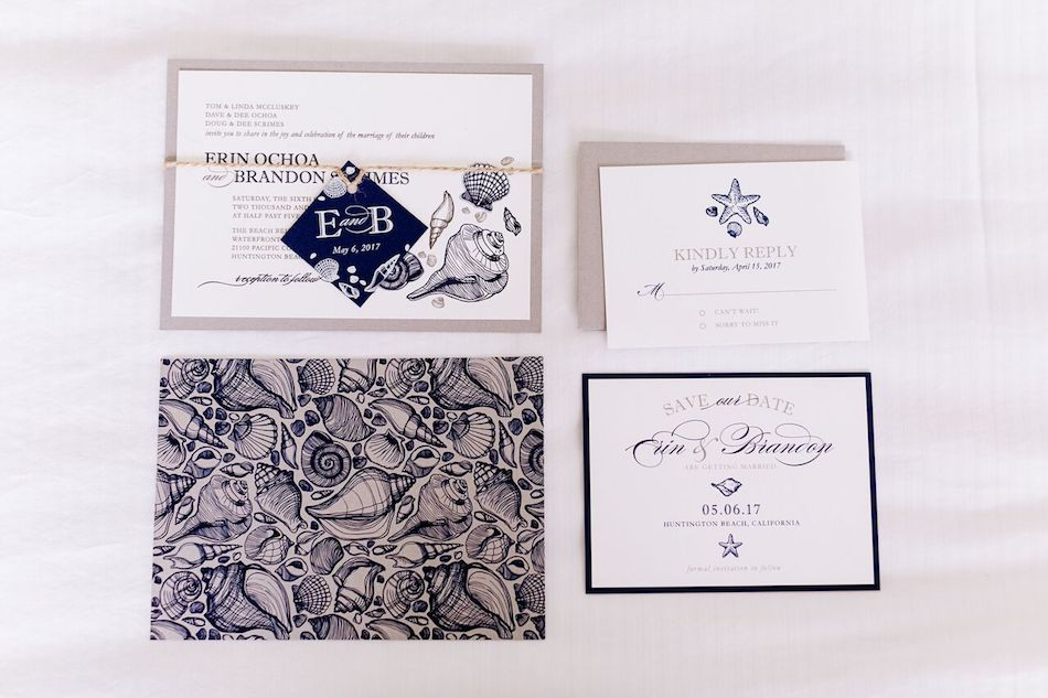 invitations, navy and white, navy, wedding, flowers by cina