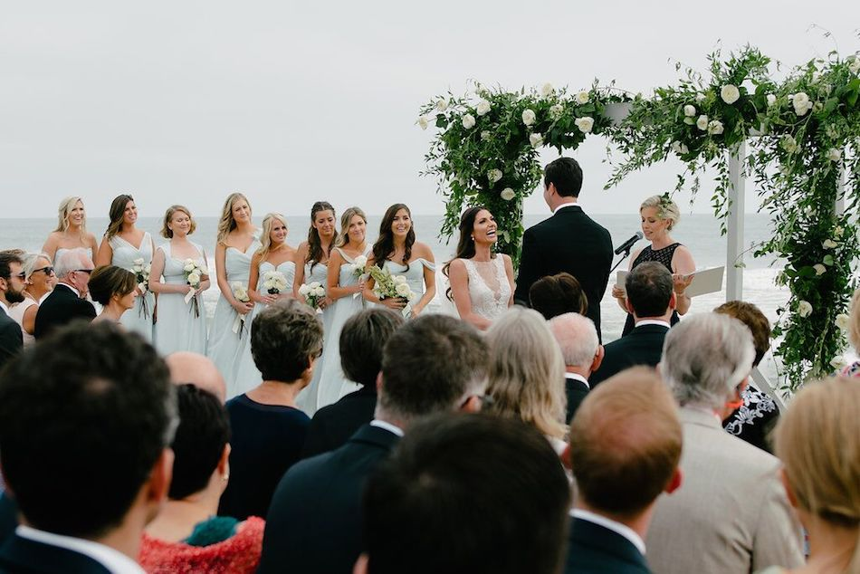 wedding ceremony, bridal party, ceremony, wedding flowers, ocean side, beach wedding,