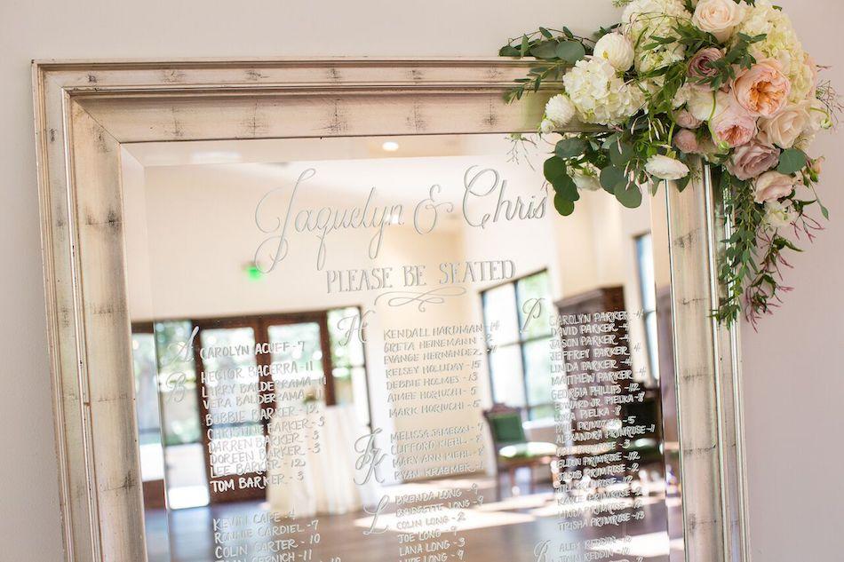 mirror, seating chart, wedding flowers, blush wedding, romantic blush, serra plaza, flowers by cina