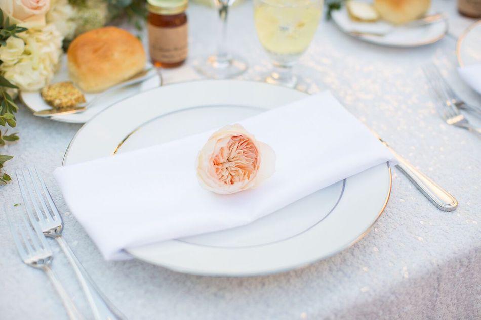 place setting, wedding flowers, blush, romantic blush, tabletop, serra plaza, flowers by cina, wedding florist, orange county florist