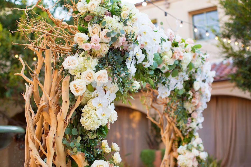 wedding arch, arch, wedding flowers, romantic blush, blush flowers, wedding ceremony, flowers by cina, serra plaza
