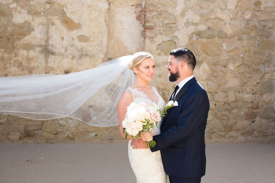 bride, groom, newlyweds, romantic blush, blush wedding, serra plaza, flowers by china