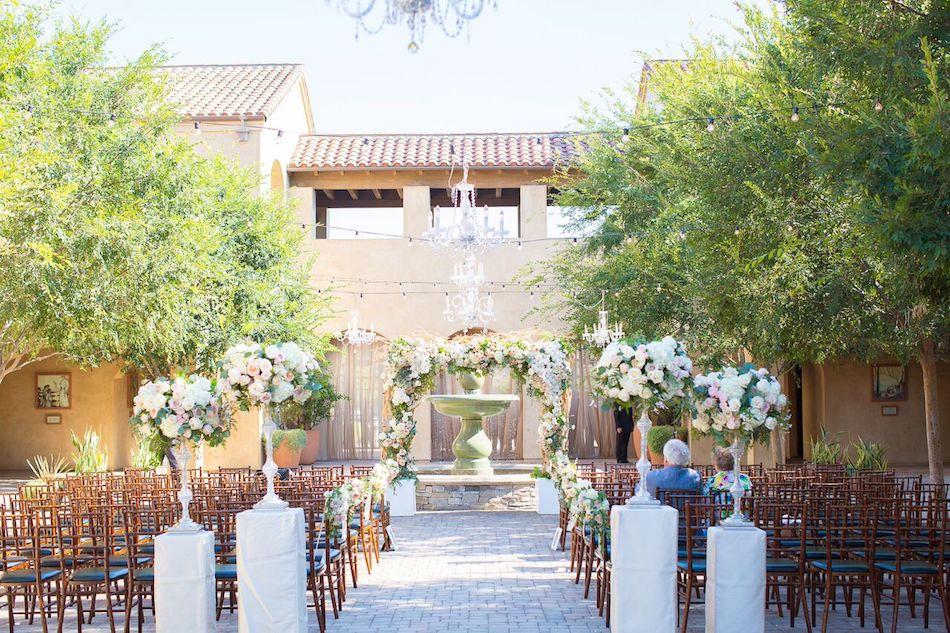 wedding ceremony, serra plaza, outdoor wedding, romantic blush, blush wedding, flowers by cina, serra plaza
