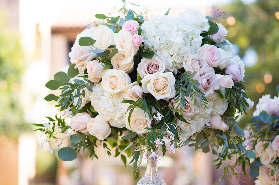 centerpieces, blush wedding, blush flowers, romantic blush, serra plaza