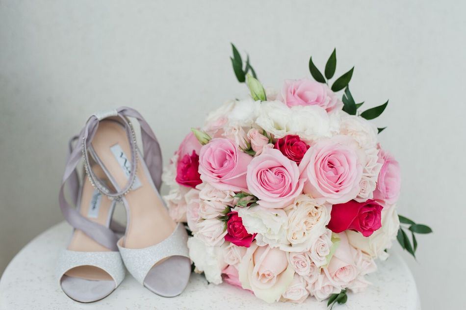 bouquet, wedding flowers, shoes, wedding, bride, romantic pink, pink, flowers by cina