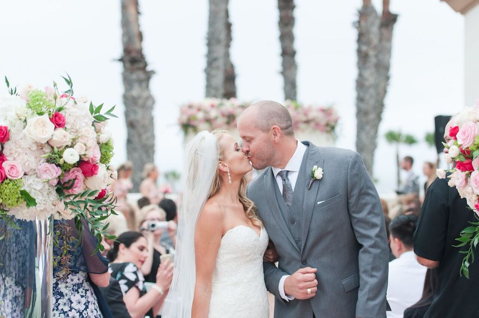 Romantic Pink Waterfront Beach Resort Wedding