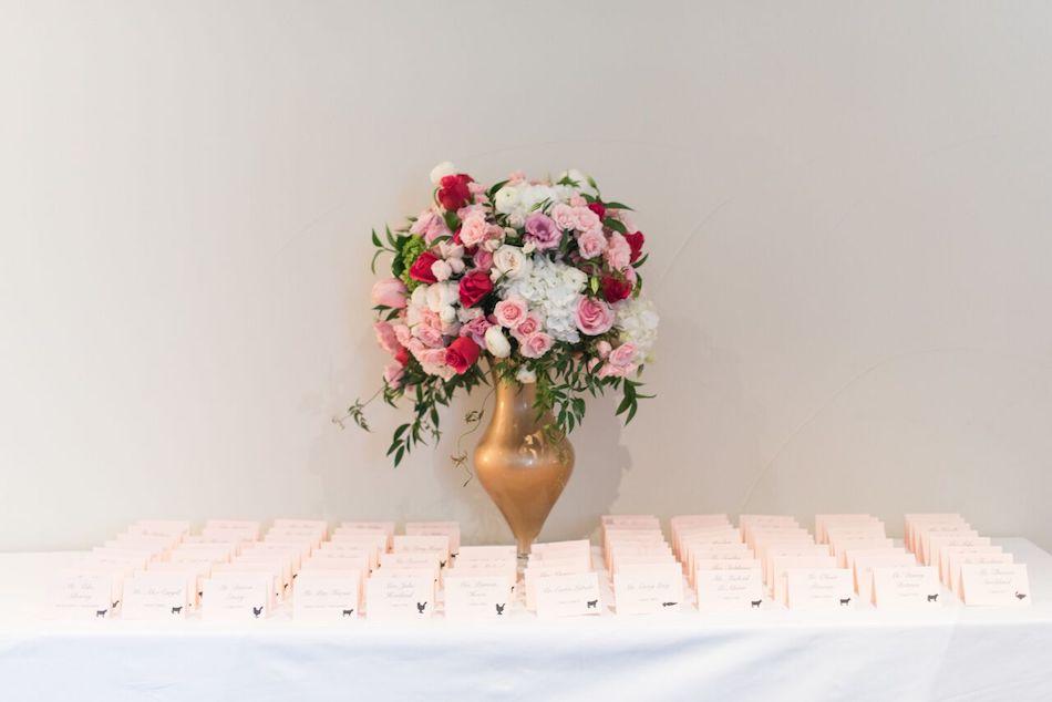 escort cards, centerpiece, wedding flowers, romantic pink, wedding flowers, pink