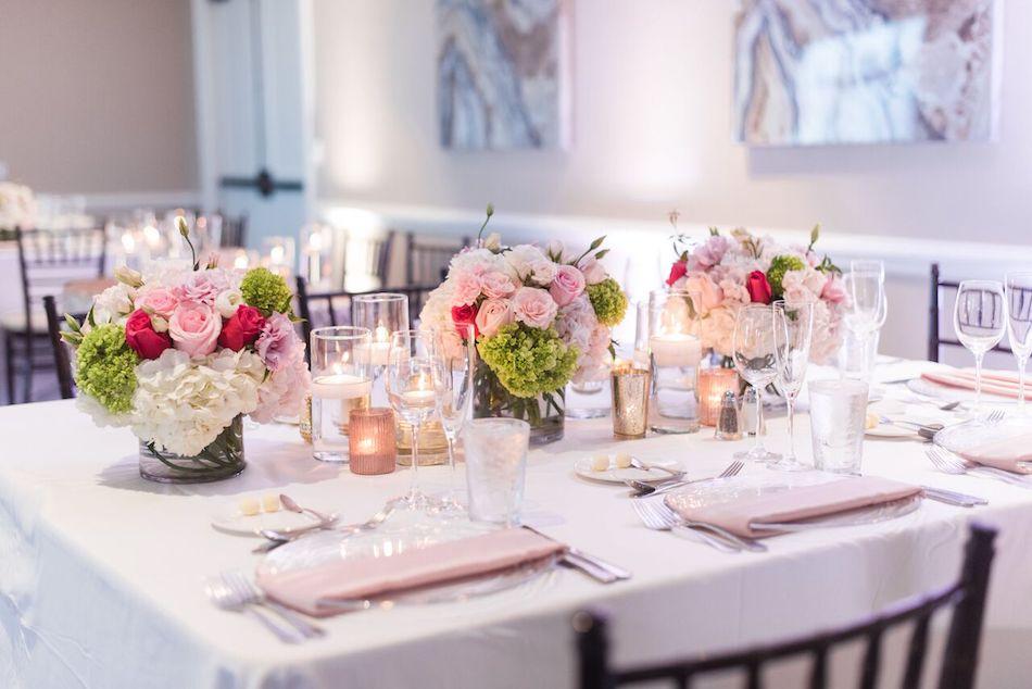 centerpieces, wedding flowers, romantic pink, wedding, reception, wedding reception