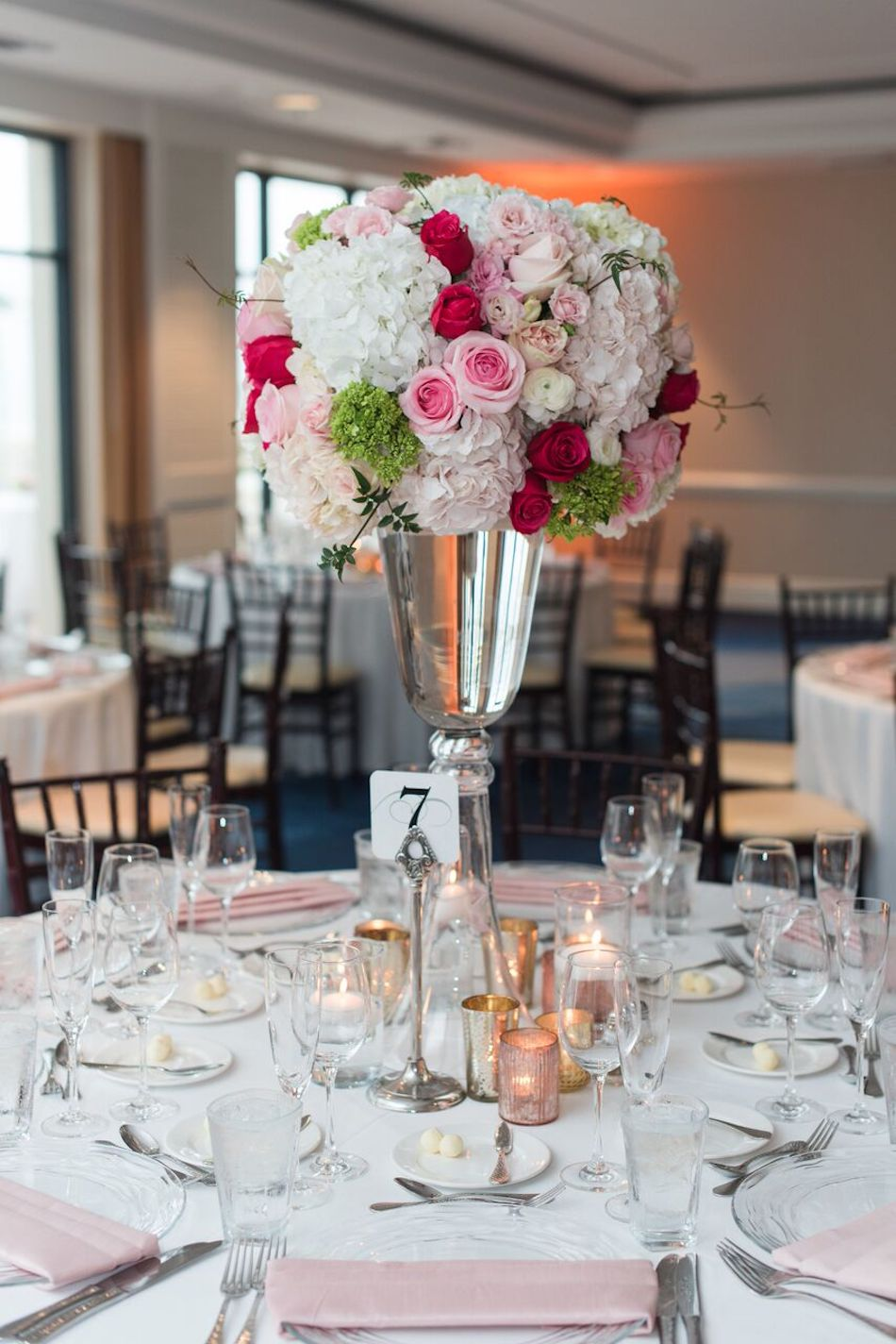 flowers, wedding flowers, romantic pink, pink, blush, centerpieces, wedding reception, flowers by cina
