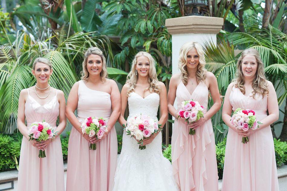 bridesmaids, wedding party, romantic pink, pink wedding, wedding, wedding flowers, flowers by cina
