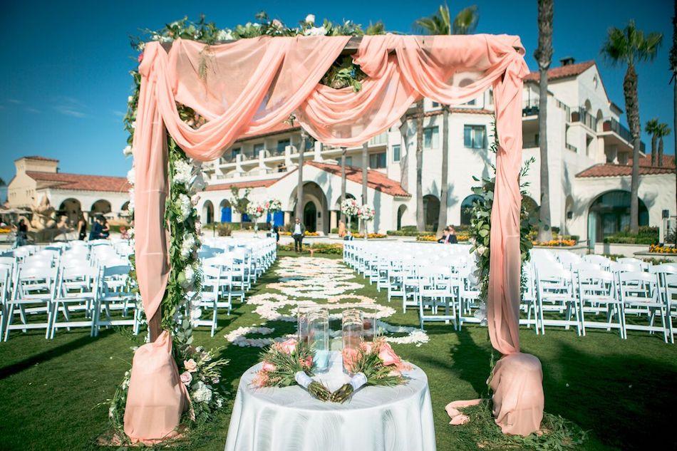 arch, blush wedding, beautiful blush, flowers by cina, wedding flowers, ceremony