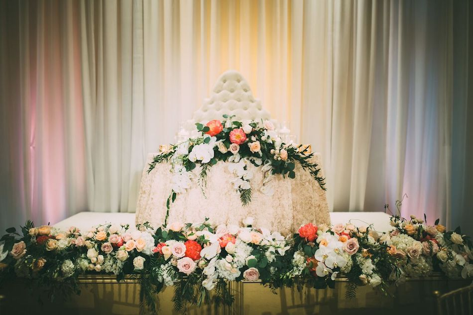 sweetheart table, floral design, florist, flowers by cina, beautiful blush, wedding