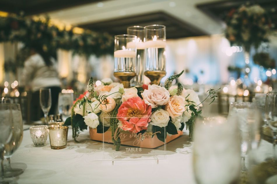 centerpiece, flowers, wedding flowers, reception, florist, flowers by cina, beautiful blush, candles