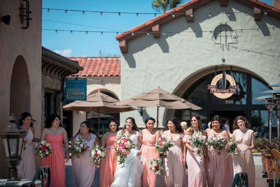blush, bride, bridesmaids, wedding flowers, beautiful blush