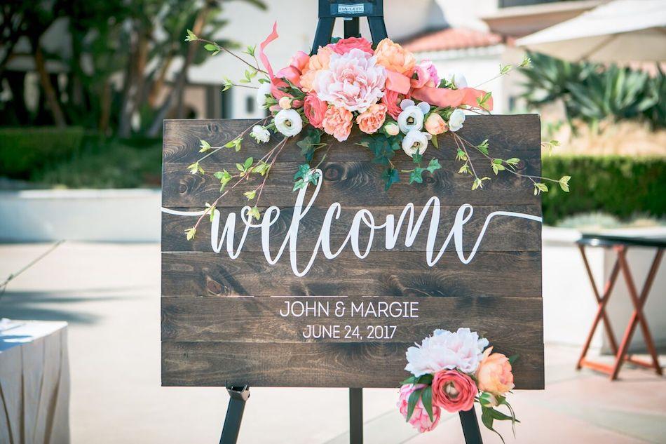 welcome sign, wedding flowers, beautiful blush, wedding, wedding flowers, flowers