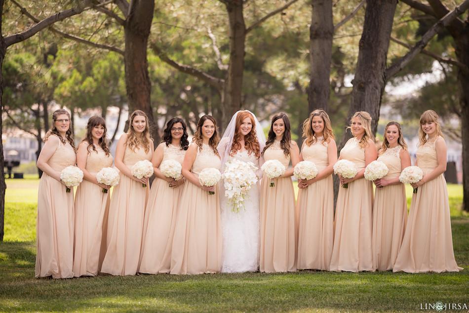 bridesmaids, blush, wedding, enchanting laguna hills marriott, wedding flowers