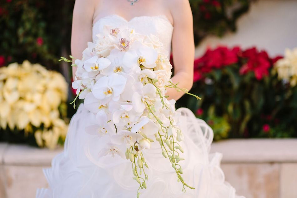 orchids, flowers, wedding flowers, bel air bay club, flowers by cina, all white wedding, wedding, bel air bay club