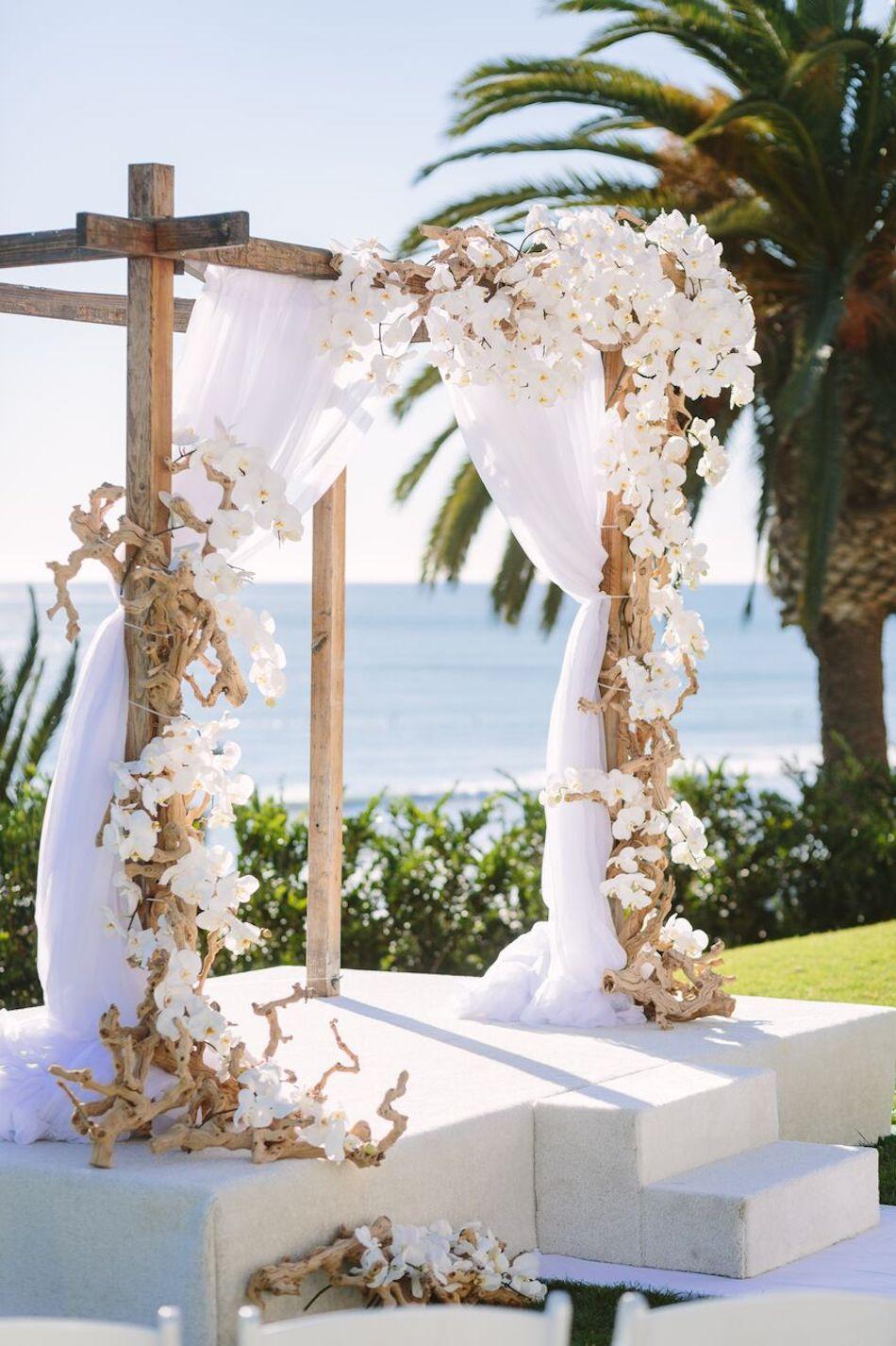 arch, beach wedding, all white wedding, wedding flowers, orange county florist, bel air bay club, flowers by cina