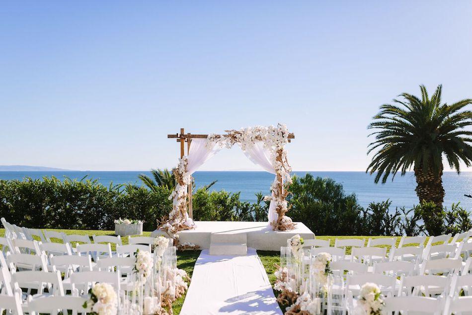 beach wedding, all white wedding, wedding ceremony, wedding flowers, orange county florist, bel air bay club, flowers by cina
