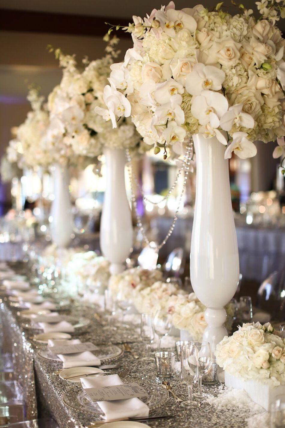 centerpieces, white flowers, all white wedding, orange county florist, bel air bay club, wedding, flowers by cina