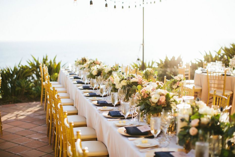 Ritz Carlton Laguna Niguel Ivory And Gold Wedding Flowers Reception