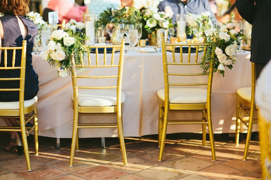 gold chairs, ivory and gold, greenery, wedding flowers, orange county florist, flowers by cina
