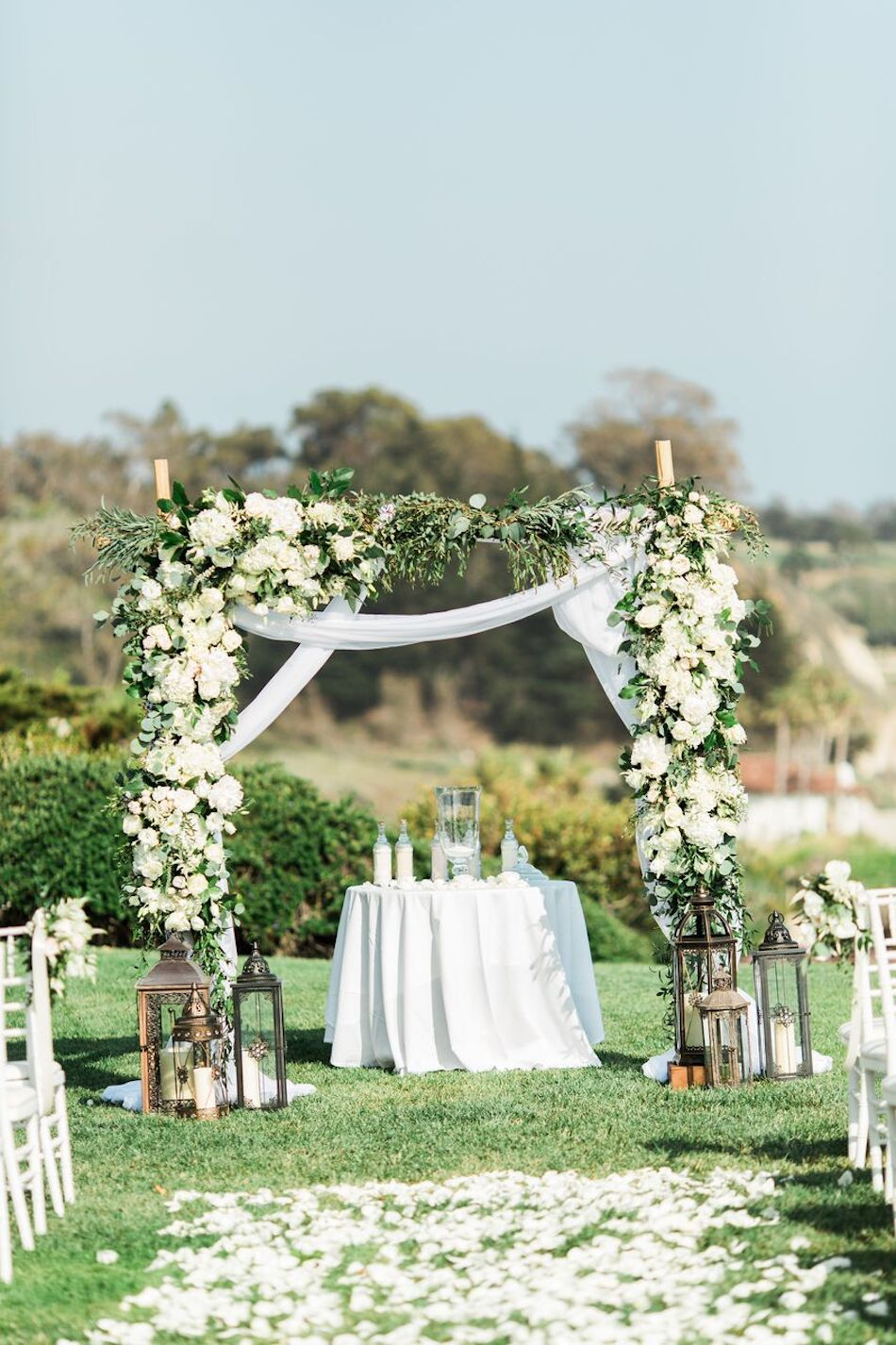 wedding ceremony, arch, navy and white, bacara resort, santa barbara wedding, orange county wedding, orange county florist, wedding florist, flowers by cina, wedding flowers, floral design, orange county floral design