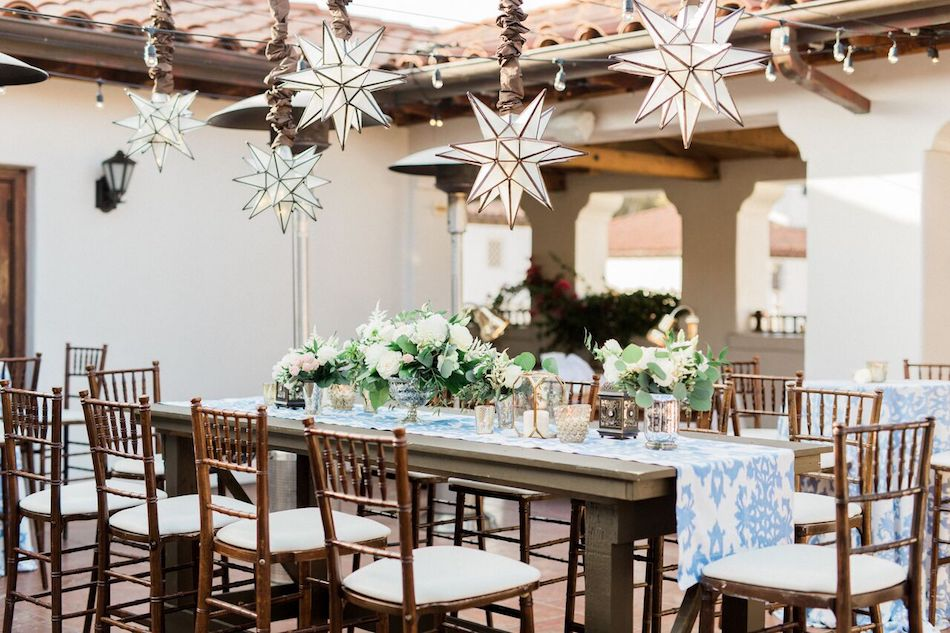 wedding reception, tabletop, tablescape, centerpieces, navy and white, bacara resort, santa barbara wedding, orange county wedding, orange county florist, wedding florist, flowers by cina, wedding flowers, floral design, orange county floral design