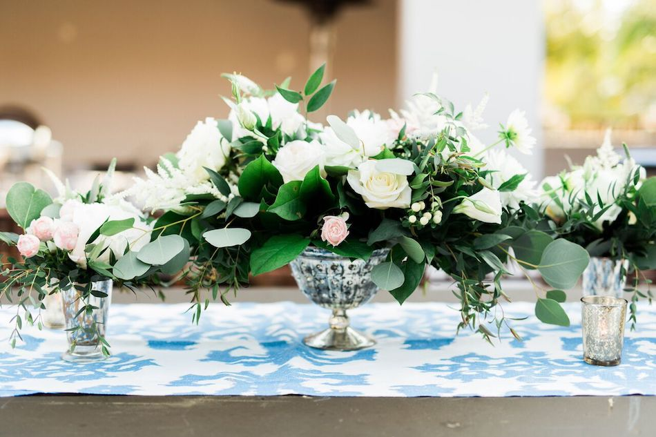 centerpieces, navy and white, bacara resort, santa barbara wedding, orange county wedding, orange county florist, wedding florist, flowers by cina, wedding flowers, floral design, orange county floral design
