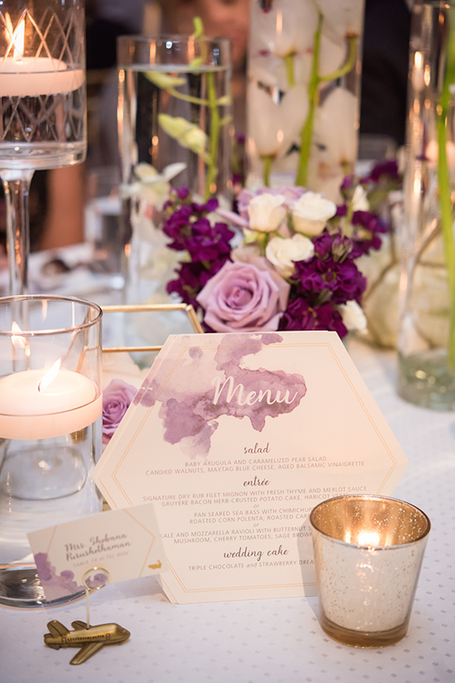 flowers by cina, ritz carlton laguna niguel, purple, ivory, strictly weddings, feature