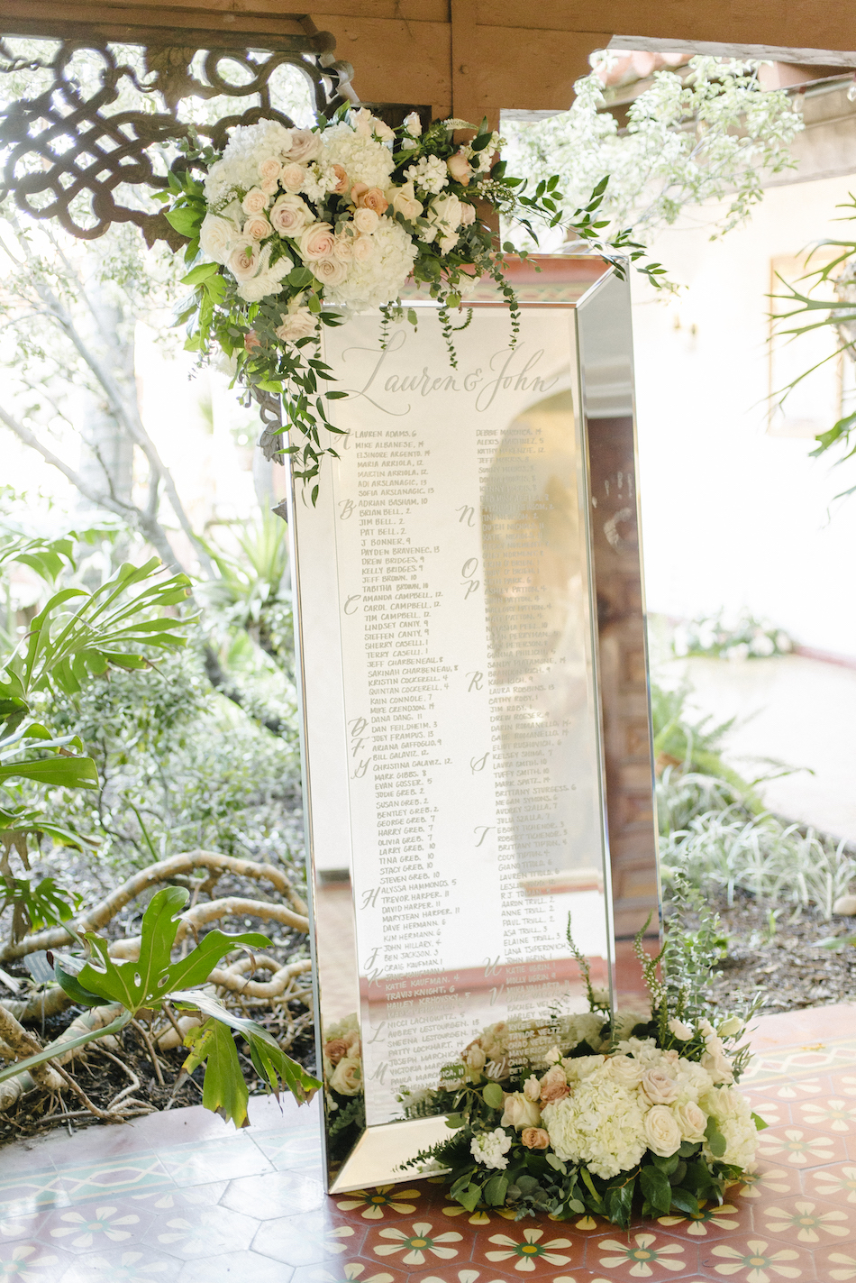 reception seating chart, floral seating chart, mirrored seating chart, traditional pastel wedding, Flowers by Cina, orange county wedding florist, orange county weddings, floral design, orange county floral designer, floral designer
