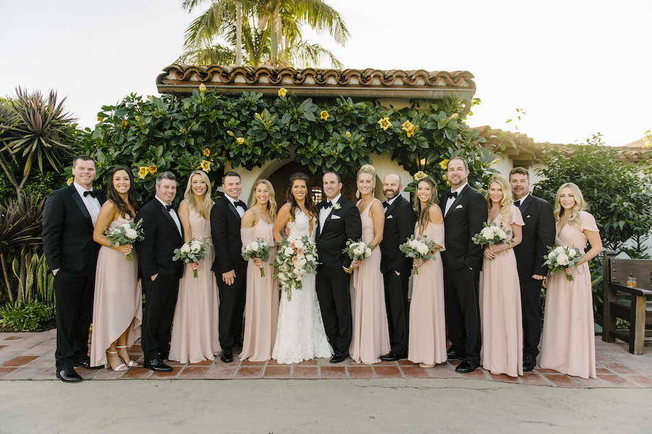 bridal party, bridesmaids, groomsmen, bride and groom, blush wedding, traditional pastel wedding, Flowers by Cina, orange county wedding florist, orange county weddings, floral design, orange county floral designer, floral designer