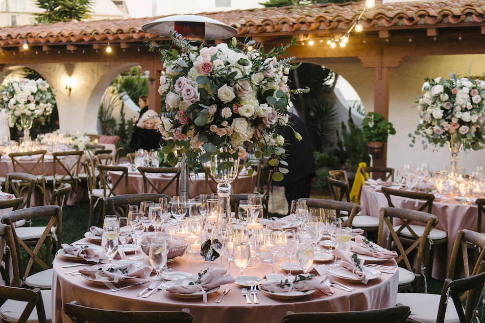 elevated centerpiece, pastel wedding reception, outdoor wedding reception, traditional pastel wedding, Flowers by Cina, orange county wedding florist, orange county weddings, floral design, orange county floral designer, floral designer