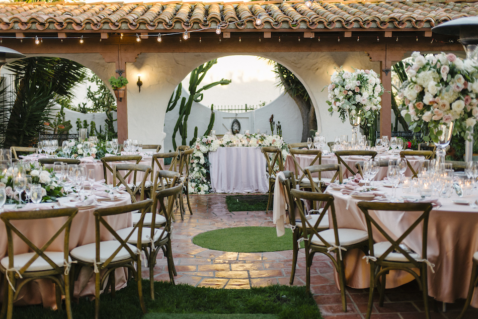 sweetheart table, outdoor wedding reception, pastel reception, traditional pastel wedding, Flowers by Cina, orange county wedding florist, orange county weddings, floral design, orange county floral designer, floral designer