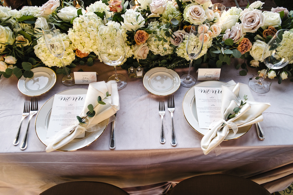 pastel tablescape, gold tablescape details, pastel centerpiece, traditional pastel wedding, Flowers by Cina, orange county wedding florist, orange county weddings, floral design, orange county floral designer, floral designer