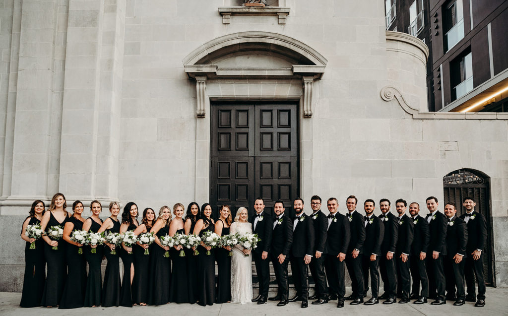 bridal party, black and white bridal party, classic bridal party, floral design, florist, wedding florist, wedding flowers, orange county weddings, orange county wedding florist, orange county florist, orange county floral design, flowers by cina