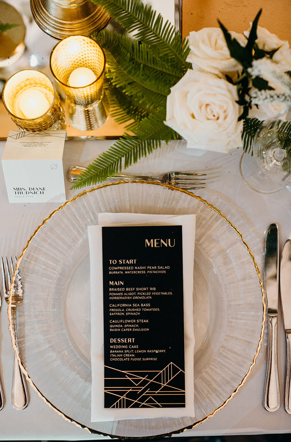gold tabletop details, wedding tablescape details, white and gold tabletop decor, floral design, florist, wedding florist, wedding flowers, orange county weddings, orange county wedding florist, orange county florist, orange county floral design, flowers by cina